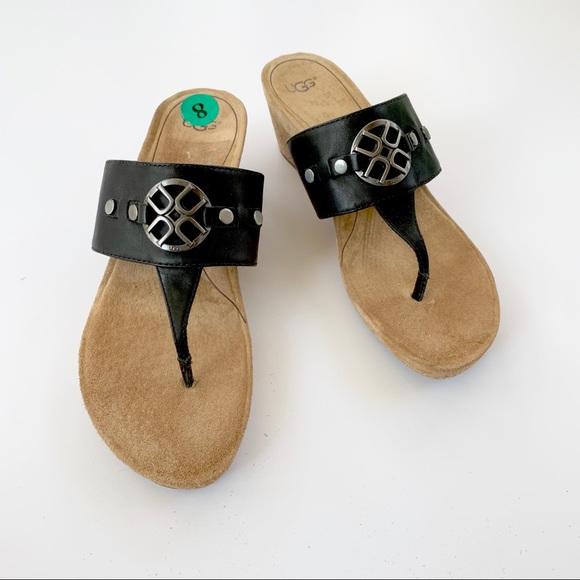 9e4df99cafb UGG Brielle Black Thong Wedge Cork Sandal 8 NWT NWT